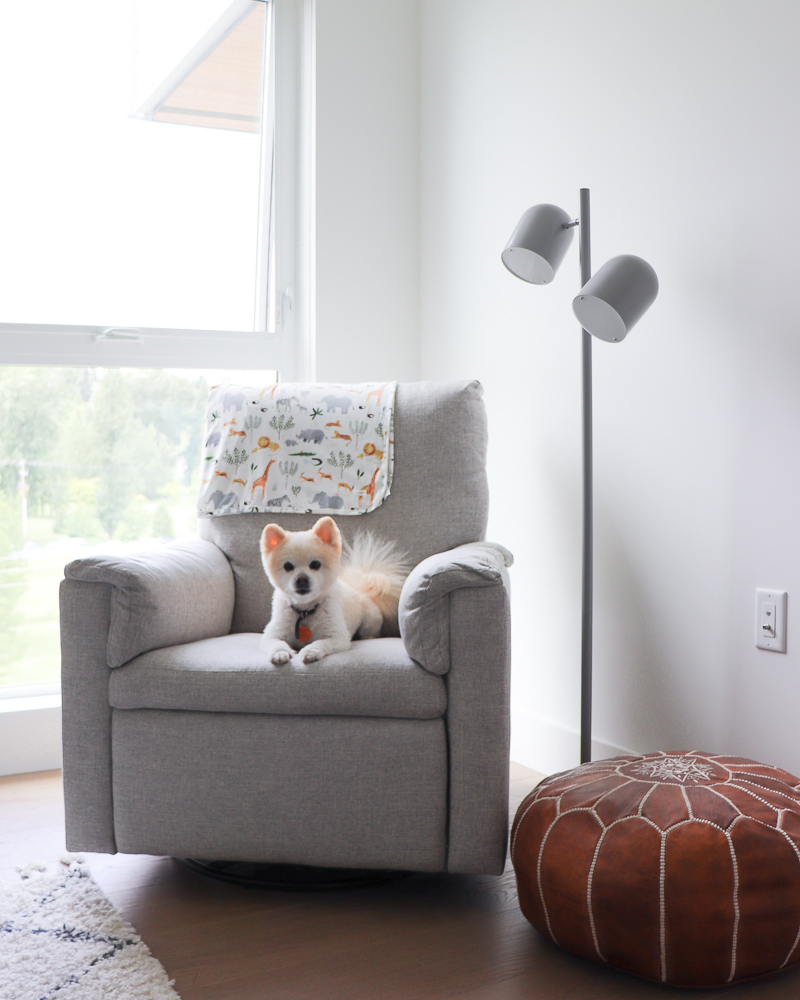 Pottery Barn Kids Dream Swivel Glider & Recliner and Crate & Barrel Kids Grey Touch Floor Lamp