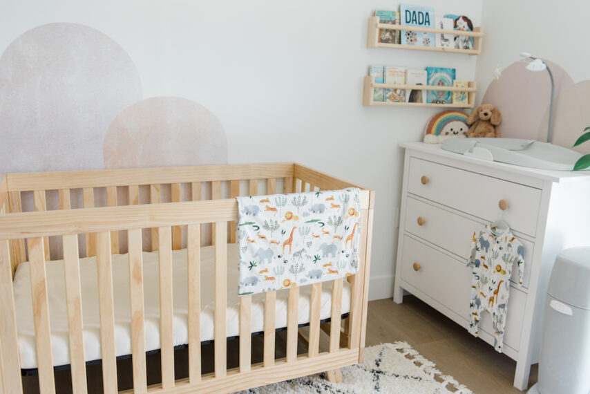 soft grey, white, and natural wood nursery