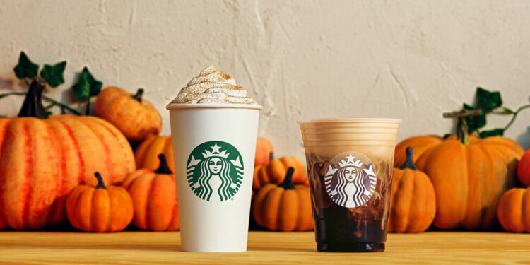Starbucks Pumpkin Spice Latte and Pumpkin Cream Cold Brew with Pumpkins in Background