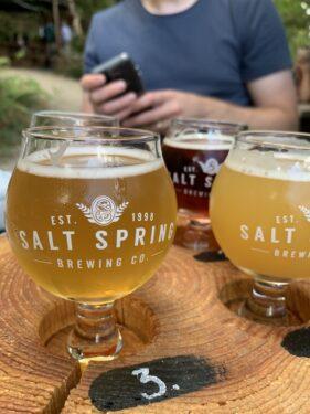 salt spring brewing co beer flight